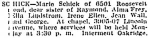 Marie Schick's Death Notice
