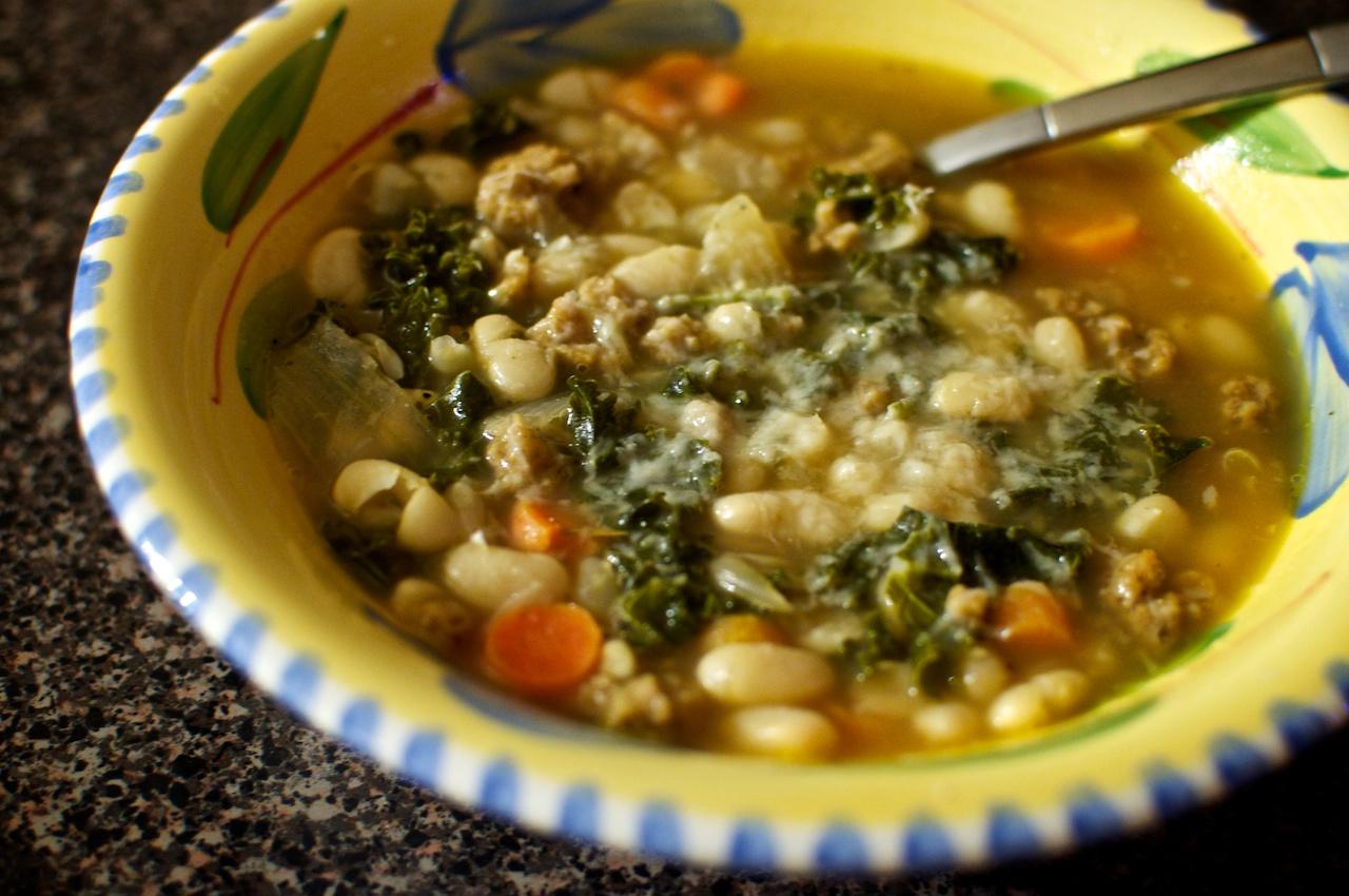 White Bean, Kale, and Italian Seitan Sausage Soup