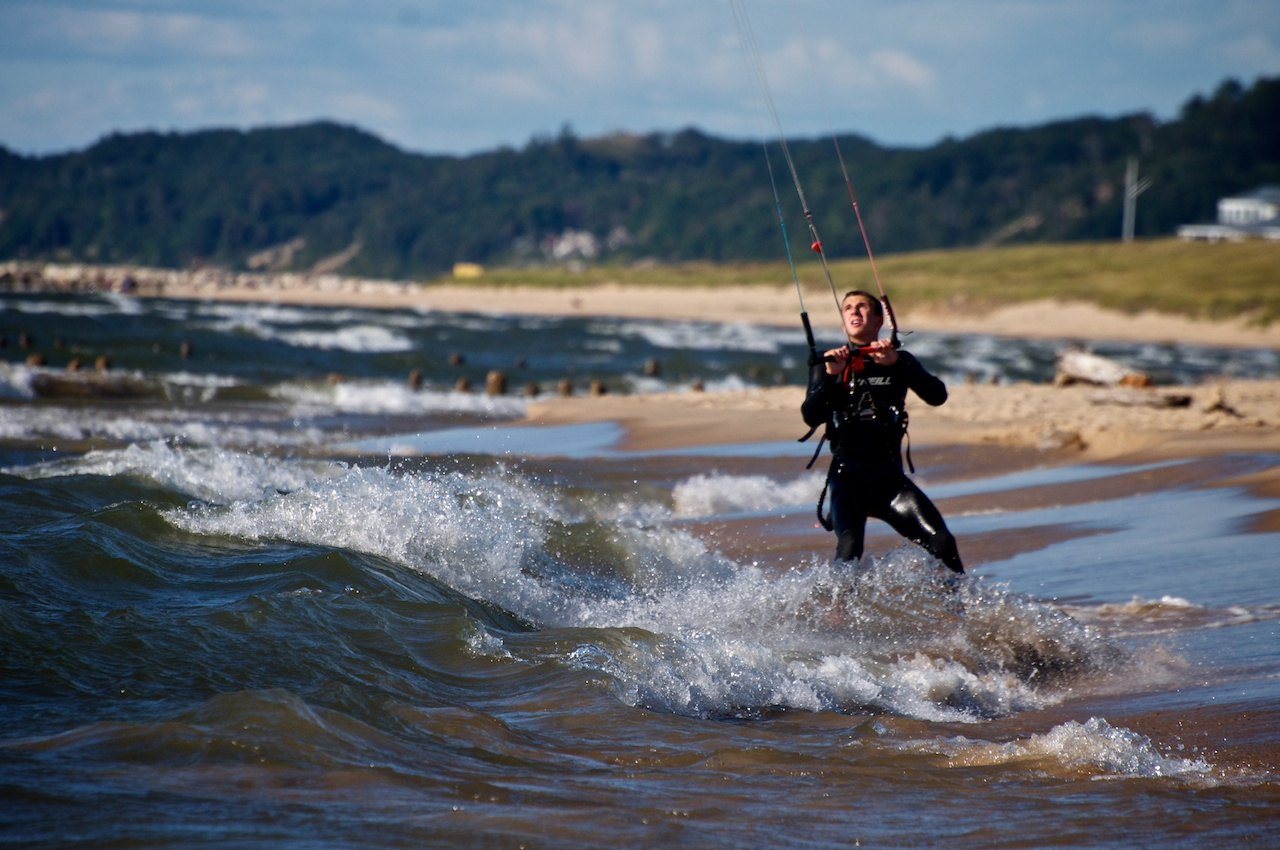 Kite Boarder, Wave Approaching
